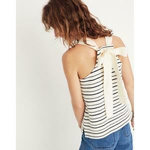 Madewell Camille Striped Tie Bow Back Tank Top L